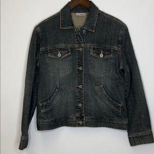 Chico's Platinum Denim Jacket Size 0 Bling